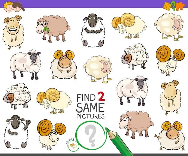 Zoek twee dezelfde schapenpersonagespel voor kinderen