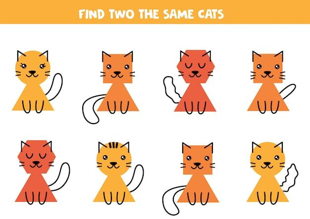 Zoek twee dezelfde schattige katten. educatief werkblad voor kinderen.