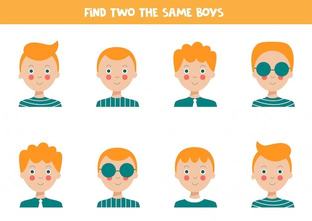 Zoek twee identieke jongens. educatief werkblad voor kinderen.