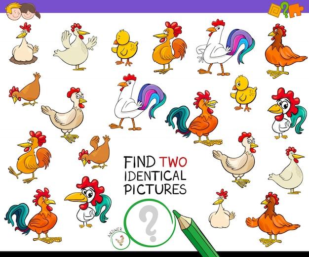 Zoek twee identieke kip foto's spel voor kinderen