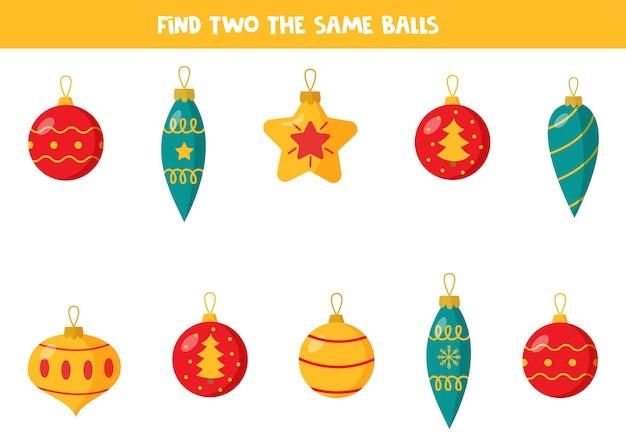 Zoek twee kerstballen. logisch werkblad voor kleuters.
