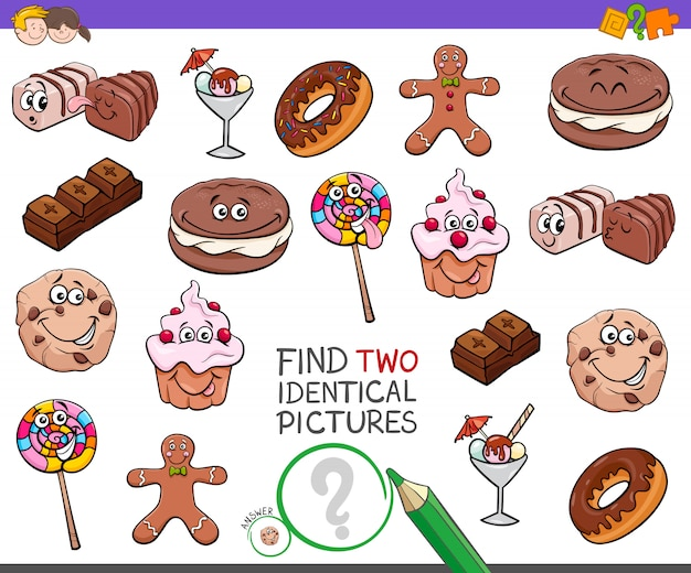 Zoek two identical pictures game met sweets
