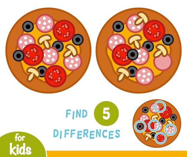 Zoek verschillen, educatief spel voor kinderen, pizza