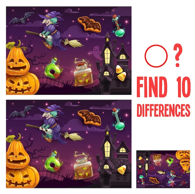 Zoek verschillen halloween-spel of raadsel voor kinderen