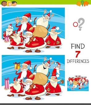 Zoek verschillen met santa claus-personages