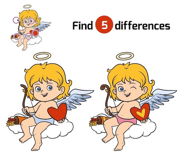 Zoek verschillen, onderwijsspel voor kinderen, angel