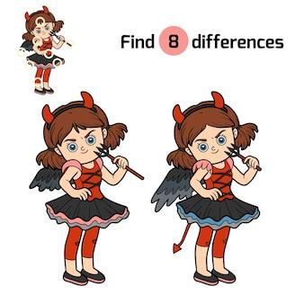 Zoek verschillen, onderwijsspel voor kinderen, duivelsmeisje