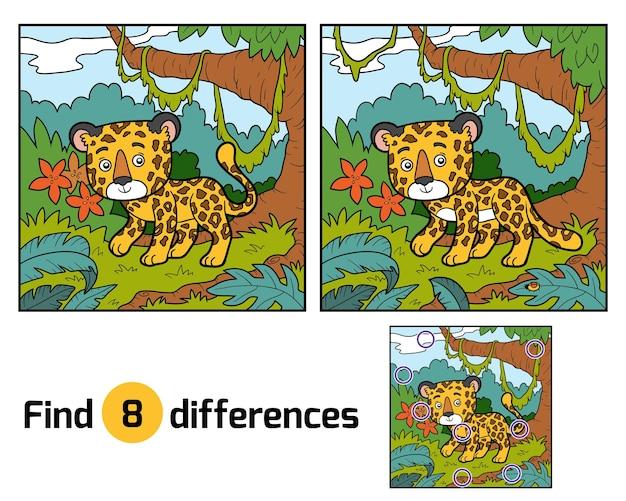 Zoek verschillen onderwijsspel voor kinderen, jaguar