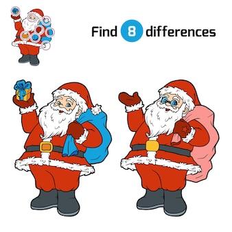 Zoek verschillen, onderwijsspel voor kinderen, kerstman