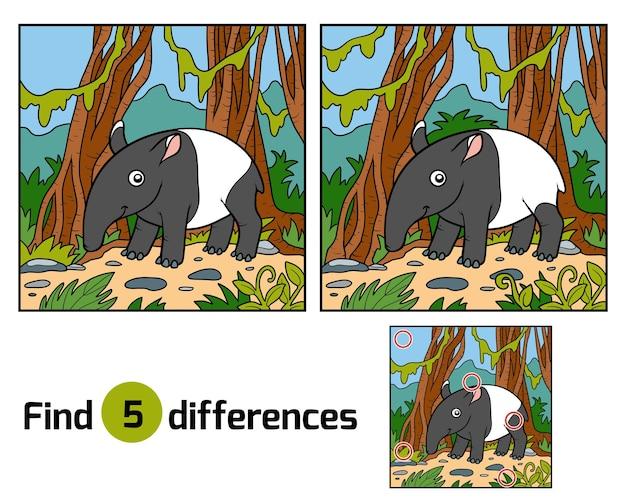 Zoek verschillen onderwijsspel voor kinderen, maleisische tapir