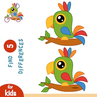 Zoek verschillen, onderwijsspel voor kinderen, parrot