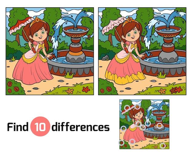 Zoek verschillen onderwijsspel voor kinderen, prinses