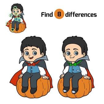 Zoek verschillen, onderwijsspel voor kinderen, vampire