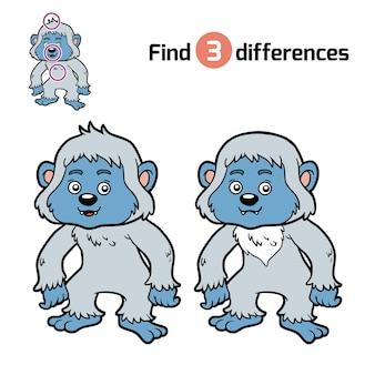 Zoek verschillen, onderwijsspel voor kinderen, yeti