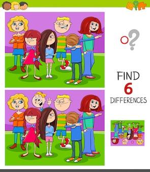 Zoek verschillen spel met kinderen groep