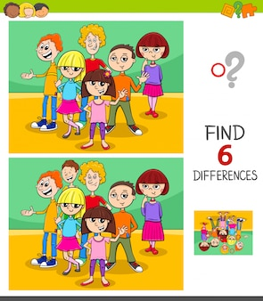 Zoek verschillen spel met kinderen of tieners
