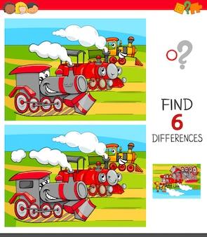 Zoek verschillen spel met locomotieven