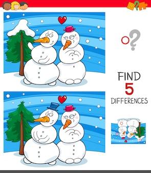 Zoek verschillen spel met sneeuwmannen