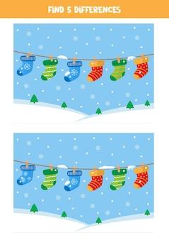 Zoek vijf verschillen tussen afbeeldingen van schattige paar sokken