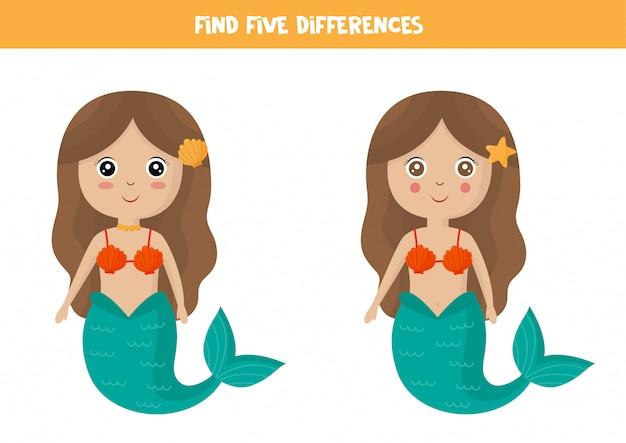 Zoek vijf verschillen tussen schattige cartoon zeemeermin.