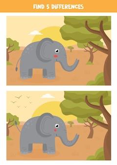 Zoek vijf verschillen tussen twee afbeeldingen van schattige olifant in savanne.