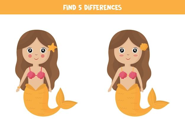 Zoek vijf verschillen tussen twee afbeeldingen van schattige zeemeerminnen.
