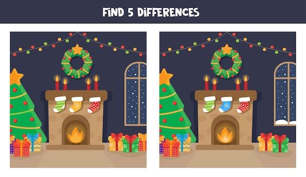 Zoek vijf verschillen tussen twee foto's van een open haard.
