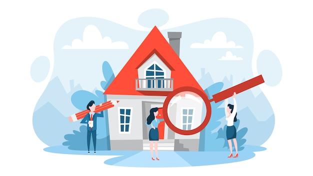 Zoek woning met vergrootglas. idee van onroerend goed