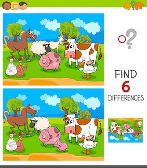 Zoek zes verschillen spel met boerderijdieren karakters