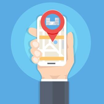 Zoek ziekenhuis of apotheek op kaart. hand met smartphone. vector illustratie.