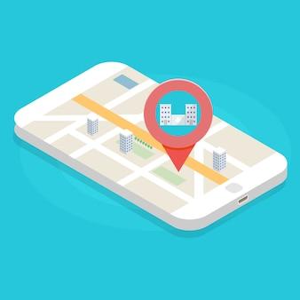 Zoek ziekenhuis of apotheek op kaart. vector illustratie.