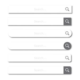 Zoekbalkelementenset of zoekvakken met schaduw