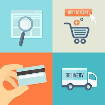 Zoeken, bestellen, betalen, leveren in platte ontwerpstijl voor online winkel