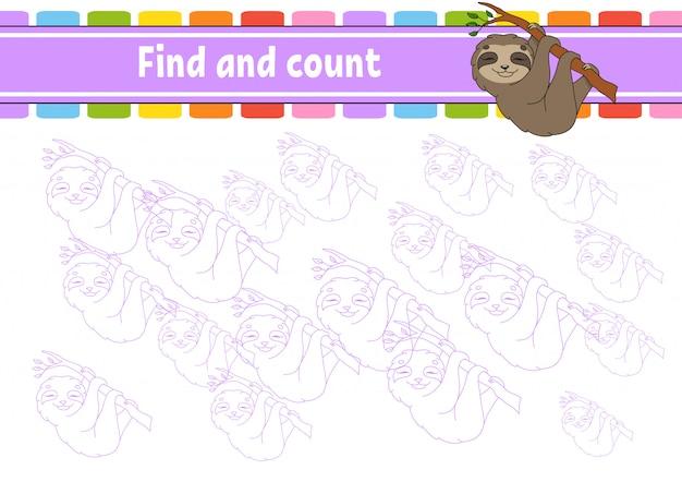 Zoeken en tellen. onderwijs ontwikkelt werkblad. activiteitenpagina met afbeeldingen.