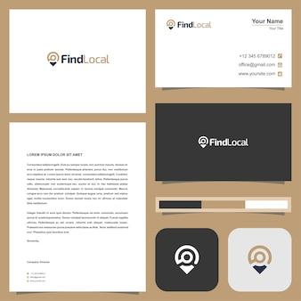 Zoeken kaart logo ontwerp en visitekaartje