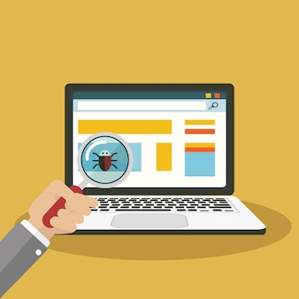 Zoeken naar bug, virus vergrootglas met computer