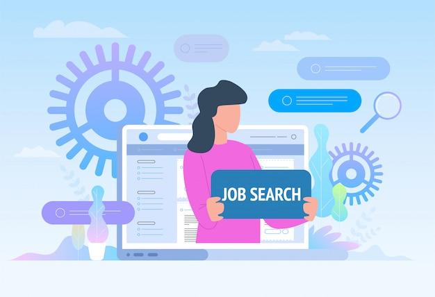 Zoeken naar een baan. werknemer op zoek naar werk. werving, werkgroep, freelance, web grafisch ontwerp. vlakke afbeelding