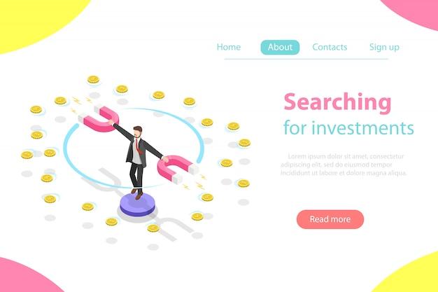 Zoeken naar investeringen plat isometrisch