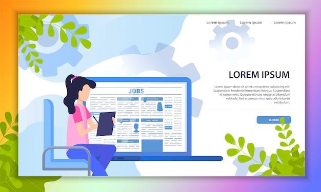 Zoeken naar job online service platte vector website