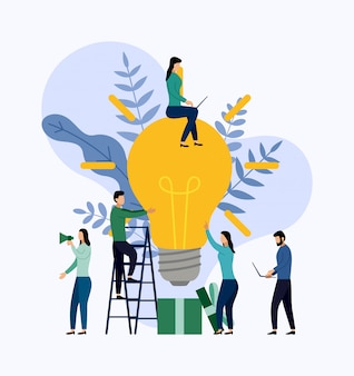 Zoeken naar nieuwe ideeën, vergaderen en brainstormen. bedrijfs concept vectorillustratie