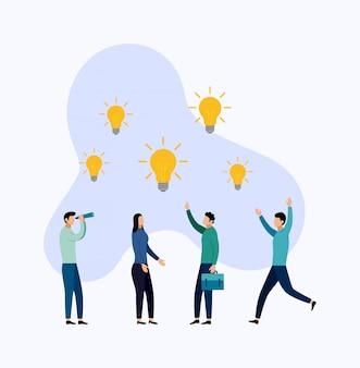 Zoeken naar nieuwe ideeën, vergaderen en brainstormen. zakelijke illustratie