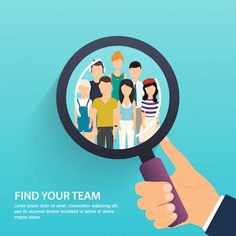 Zoeken naar werk en carrière. human resources management en headhunter. sociaal netwerk, media concept. zakelijke platte illustratie.