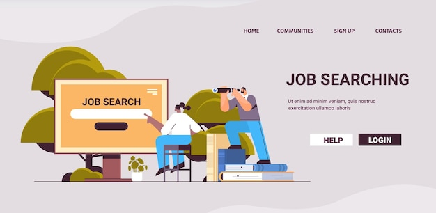 Zoeken naar werk werving headhunting in sociaal netwerk mix race medewerkers op zoek naar werk