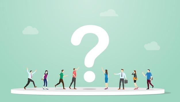 Zoeken of zoeken naar antwoorden concept met mensen en vraagteken