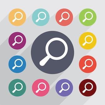Zoeken, plat pictogrammen instellen. ronde kleurrijke knopen. vector