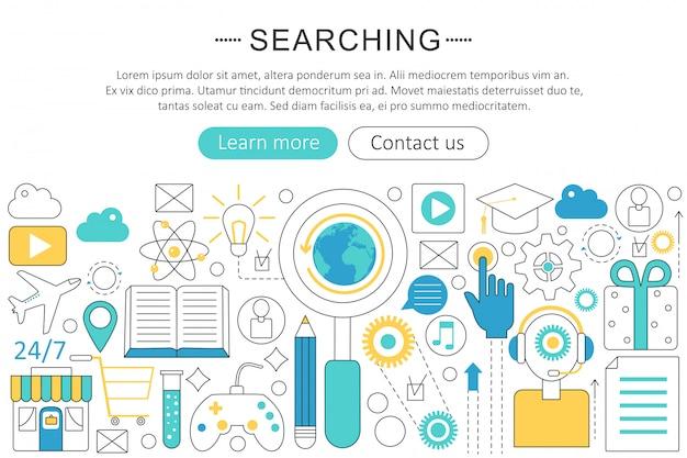 Zoeken, zoeken platte lijn concept