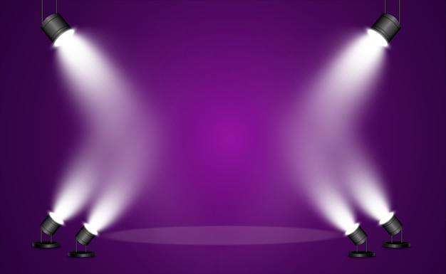 Zoeklichtcollectie voor podiumverlichting, lichttransparante effecten. heldere mooie verlichting.