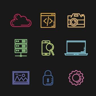 Zoekmachine optimalisatie set pictogrammen