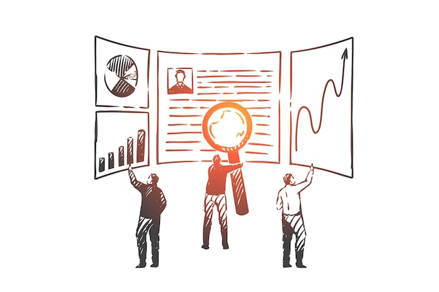 Zoekmachineoptimalisatie, seo-conceptschets. mensen uit het bedrijfsleven kijken in details naar bedrijfsindicatoren en databankenanalyse. hand getekend geïsoleerde vector illustratie