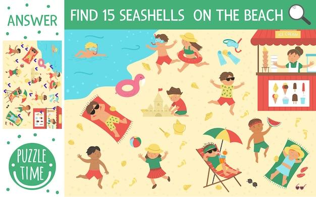 Zoekspel met kinderen die op het strand spelen en zomeractiviteiten doen